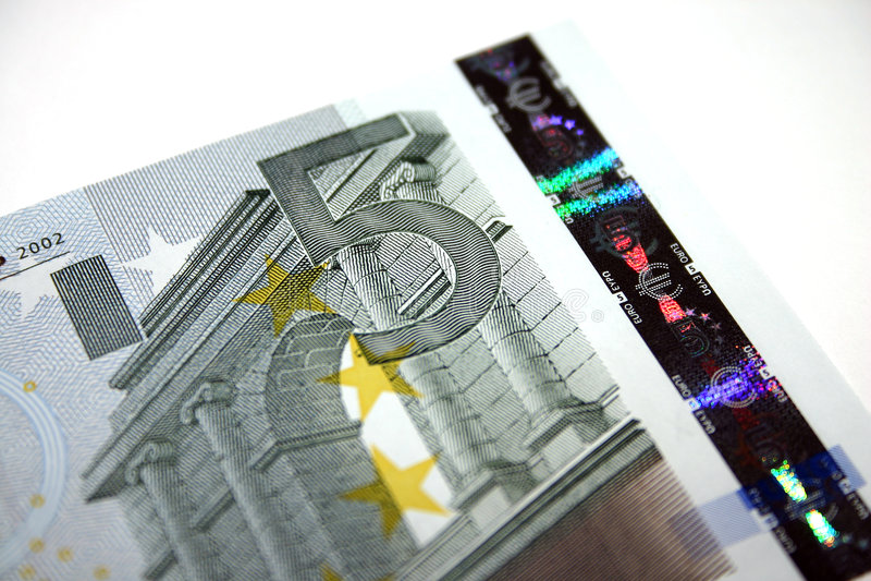 5个票据欧元附注 库存照片