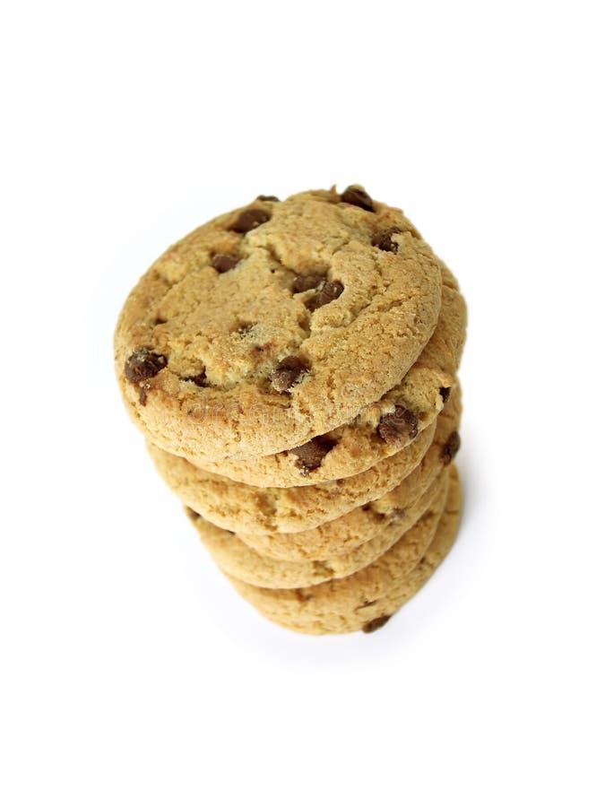 5个筹码choc曲奇饼包括的路径 库存照片