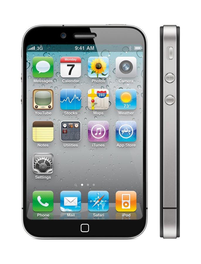 5个苹果新概念的iphone 免版税库存图片