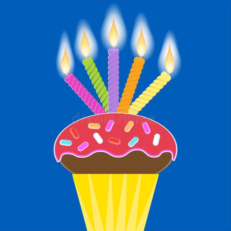 5个蜡烛杯形蛋糕 皇族释放例证