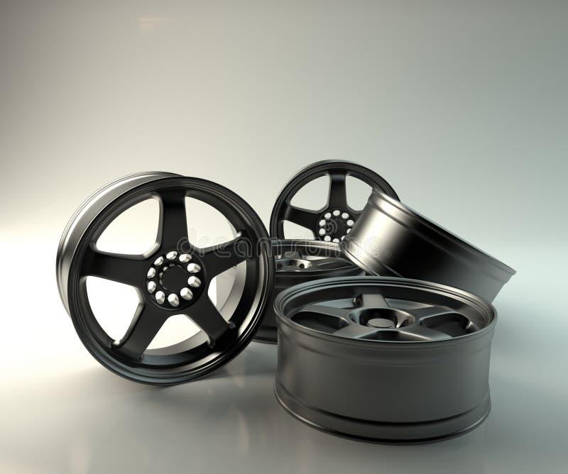 5个金属轮子 免版税库存图片