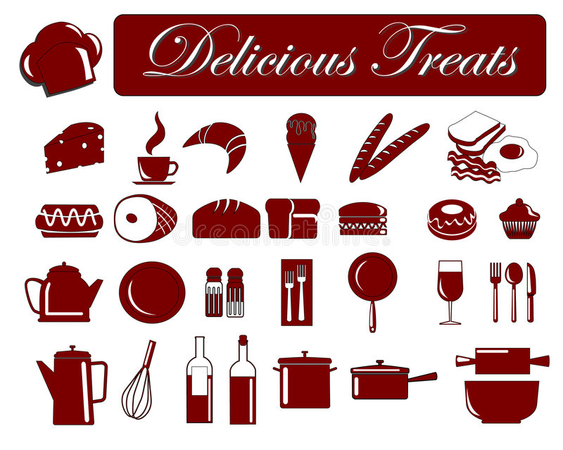 5个食物图标 库存例证