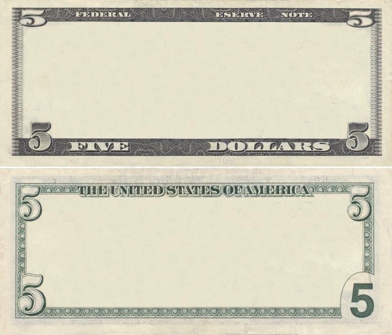 5张钞票清楚的美元模式 免版税库存照片