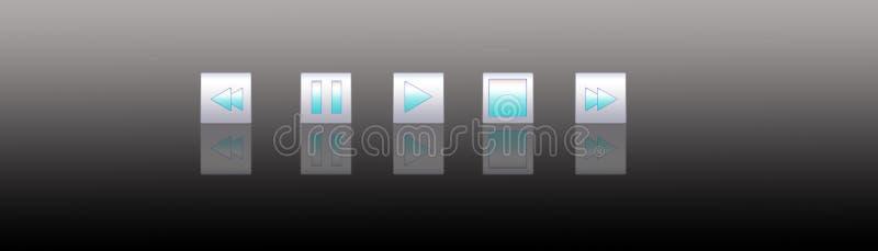 5按钮媒体播放器 皇族释放例证