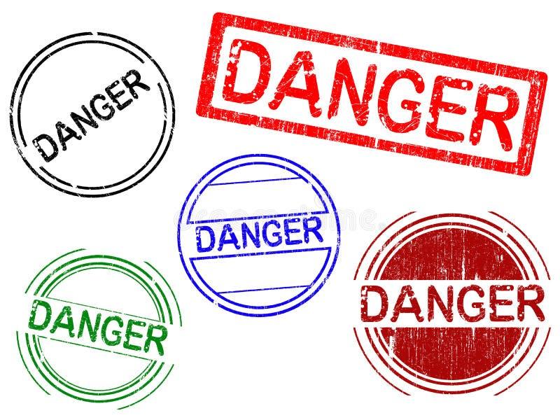 5种危险grunge办公室印花税 向量例证