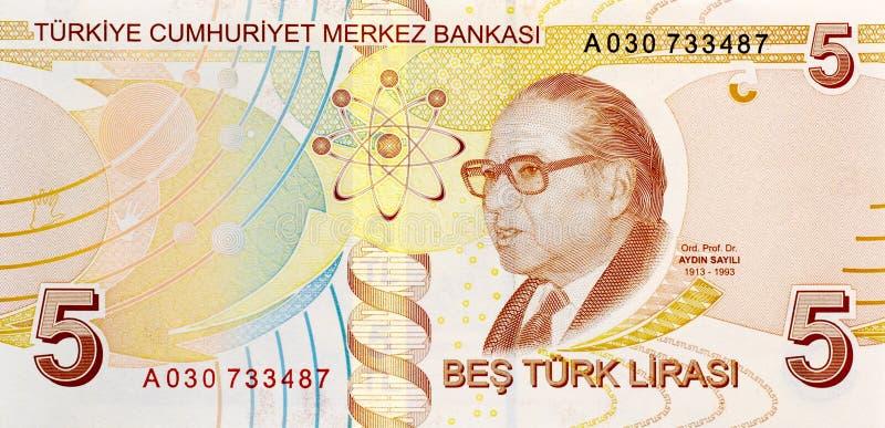 5返回钞票里拉 库存照片