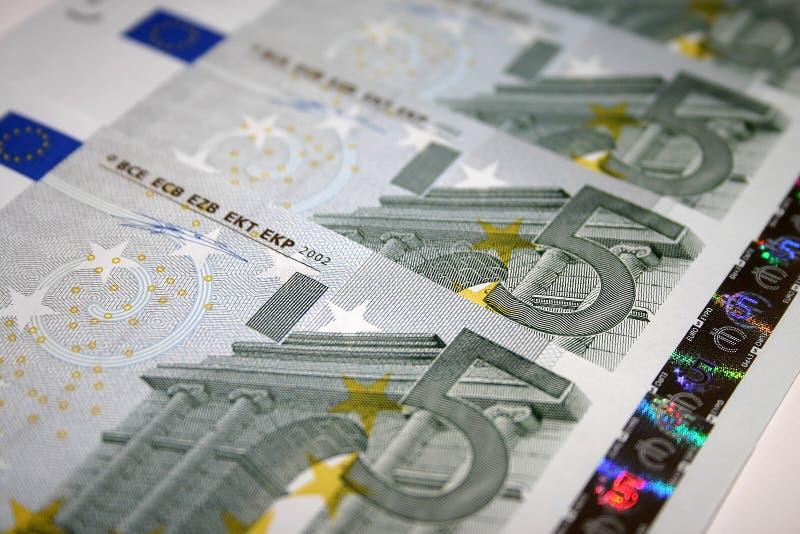 5 ευρο- σημειώσεις στοκ εικόνες