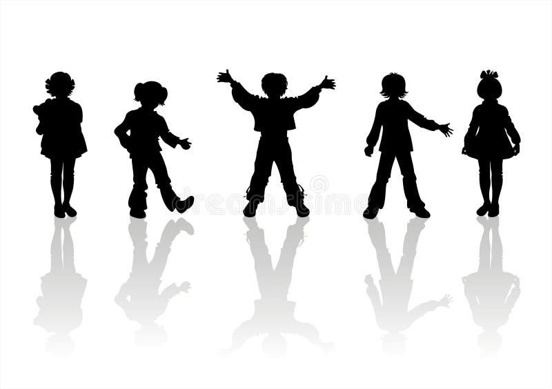 5 σκιαγραφίες παιδιών διανυσματική απεικόνιση