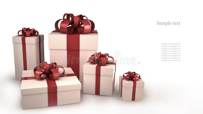 5 белых коробок подарка с тесемками и смычками иллюстрация штока