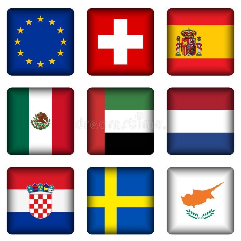 5 кнопок flag национальный квадрат иллюстрация вектора