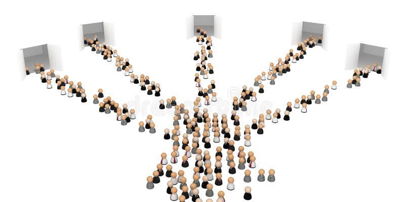 5 символов строба толпы дела иллюстрация штока