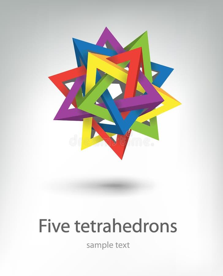 5 тетратоэдров иллюстрация вектора