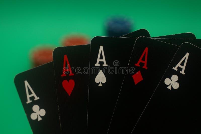 5 тузов вручают покер стоковое фото rf
