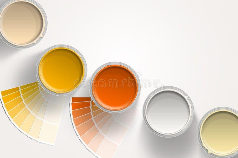 5 чонсервных банк краски - желтых, померанцово, бело на белой предпосылке иллюстрация вектора