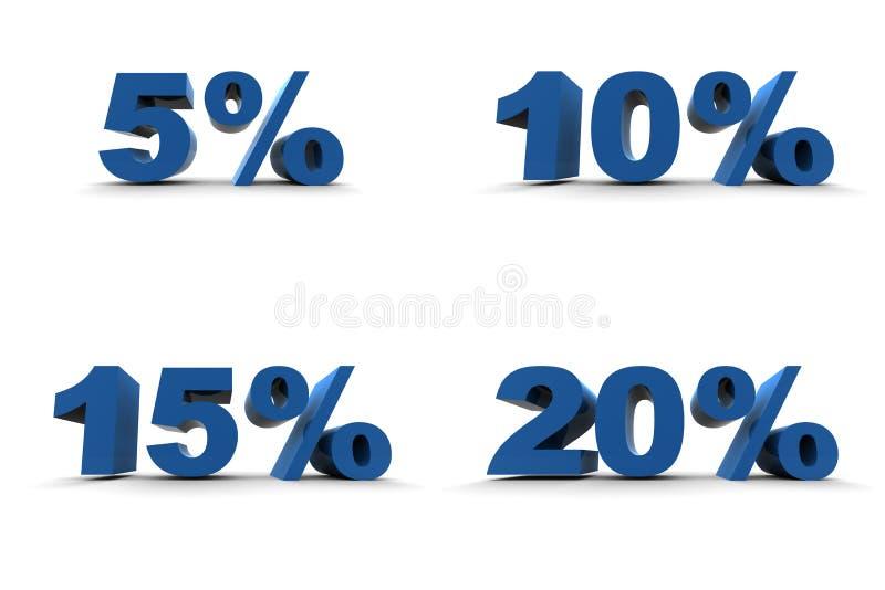 5-10-15-20% isolado ilustração do vetor