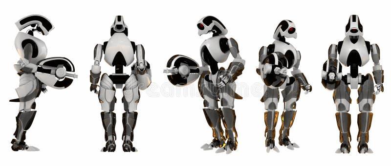 5 actitudes de protectores futuristas stock de ilustración