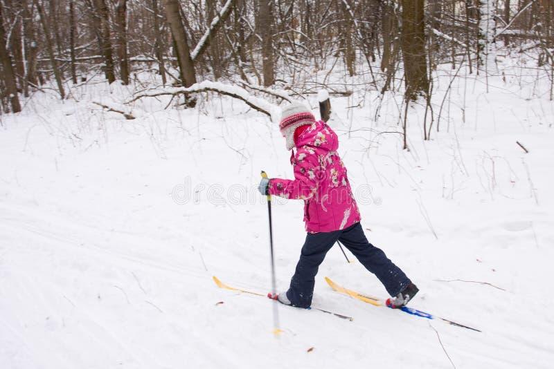 5 anos de esqui através dos campos da menina idosa foto de stock royalty free
