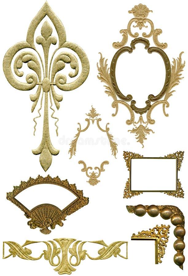5 antika designelement royaltyfria bilder