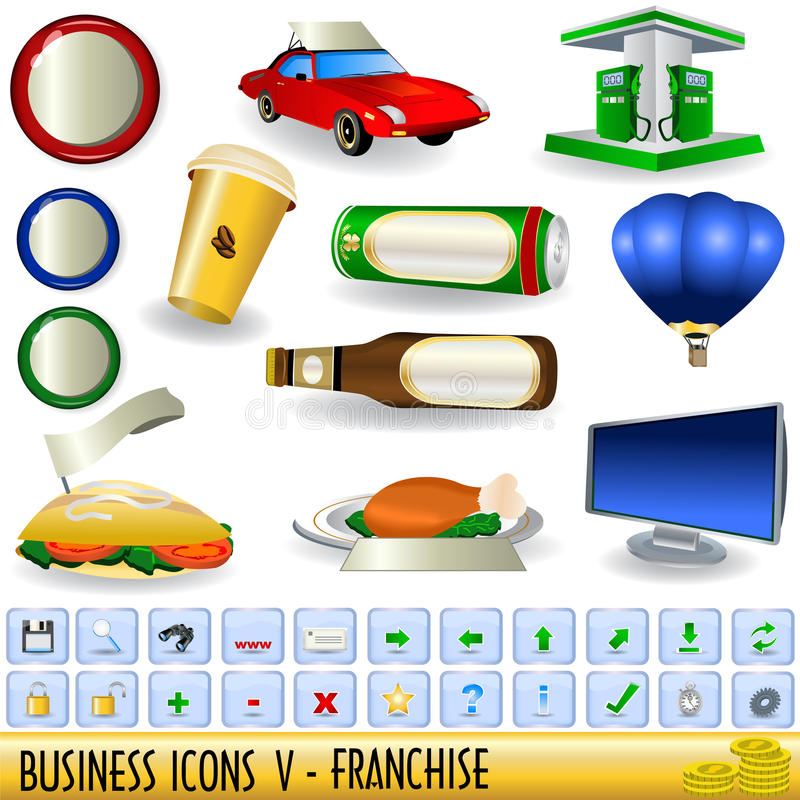5 biznesowych ikon ilustracja wektor