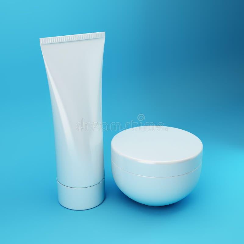 5 blåa kosmetiska produkter royaltyfri bild