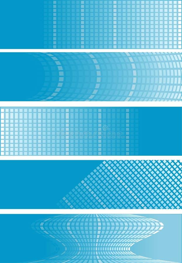 5 blaue quadratische Fahnen vektor abbildung
