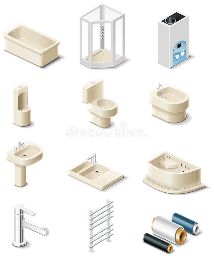 5 byggande sanitära teknikdelprodukter vektor illustrationer