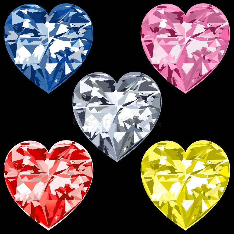 5 coeurs de diamant illustration de vecteur