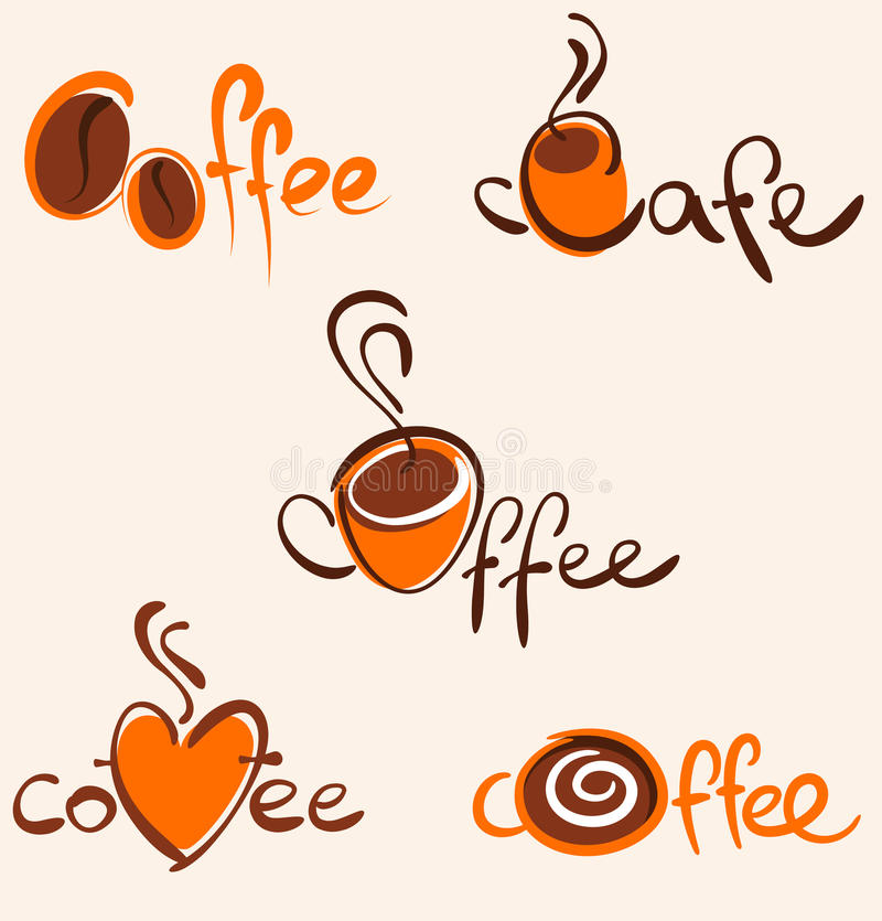 5 coffee logos and icons royalty free stock photo