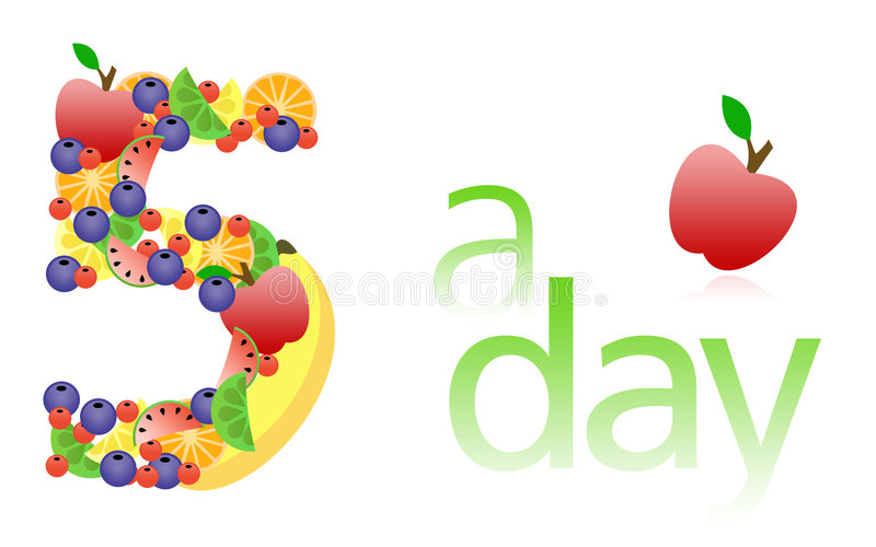 5 a day / Five a day royalty free illustration