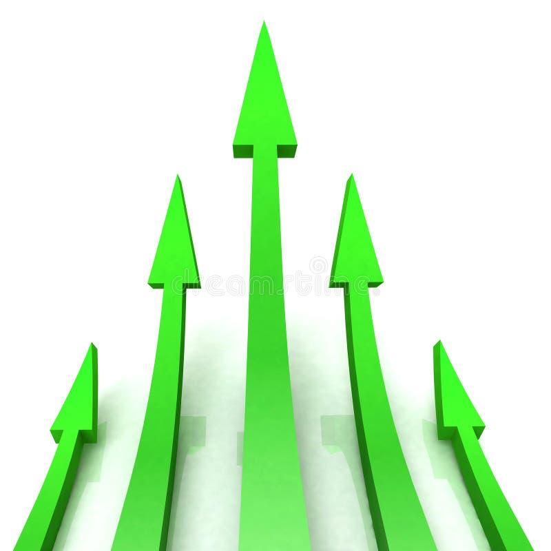 5 de groene Pijlen toont Intermediair Doel vector illustratie
