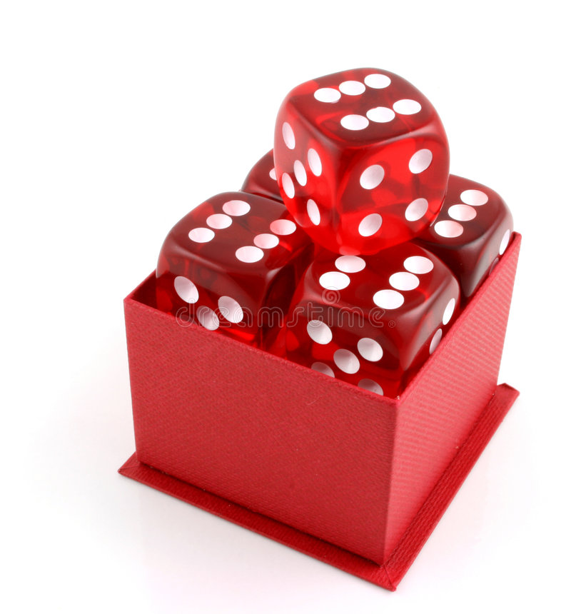 5 Dice in a Box. 5 Dice in a red box all showing sixes stock photography