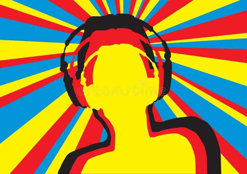 5 disko dj stock illustrationer
