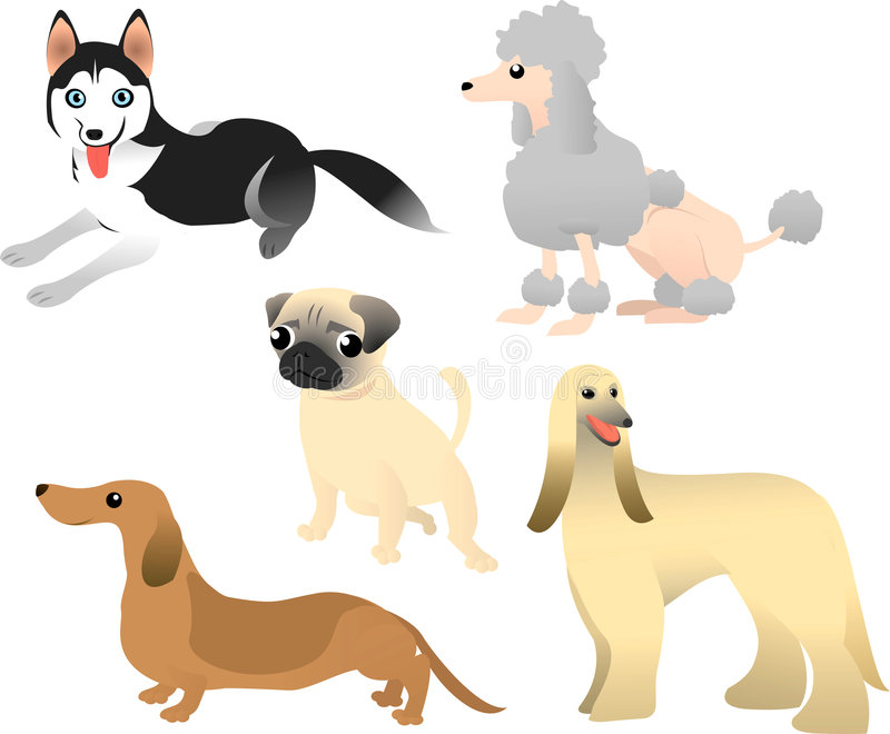 Download 5 dogs stock vector. Image of child, brown, little, cartoon - 8541905