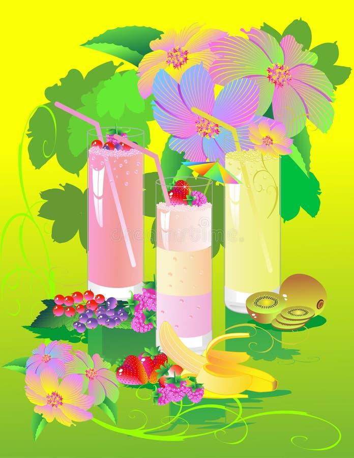 5 drinkar stock illustrationer
