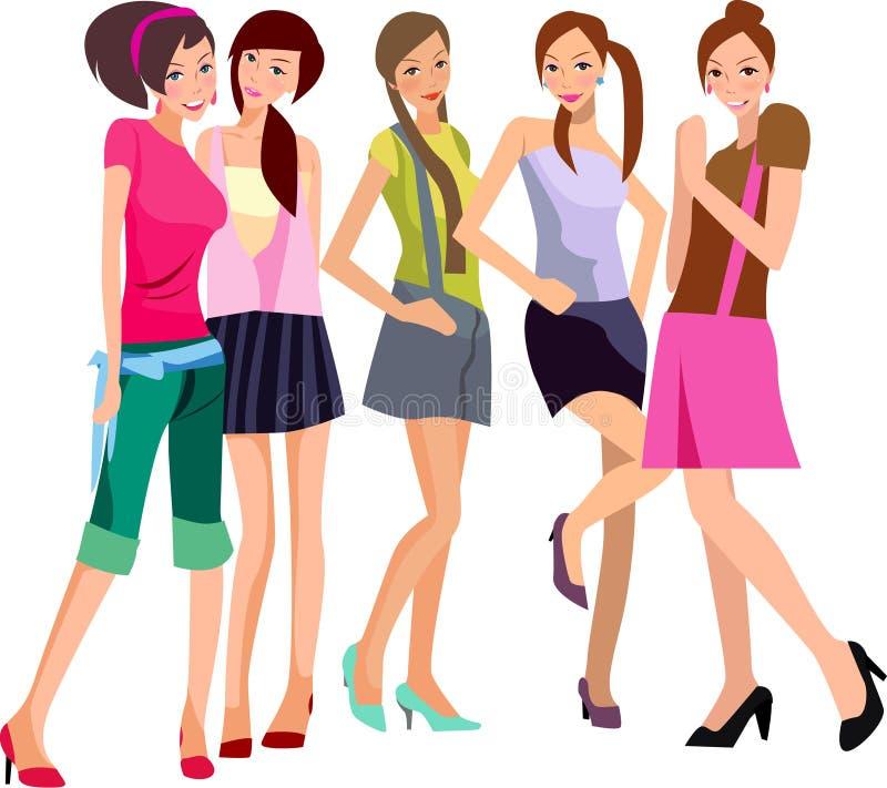 5 dziewczyn, ilustracja wektor