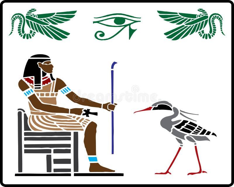5 egipskich hieroglifów royalty ilustracja