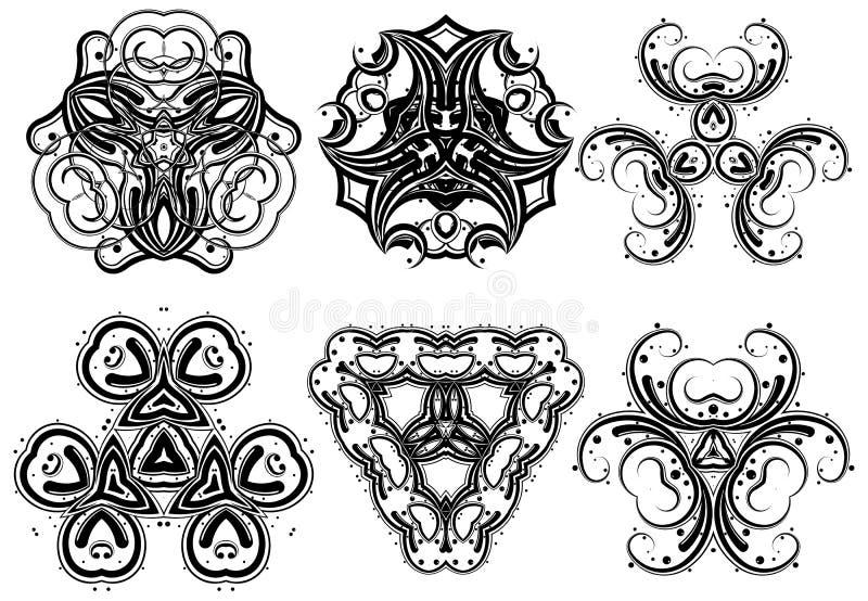 5 fantasiprydnadar vektor illustrationer