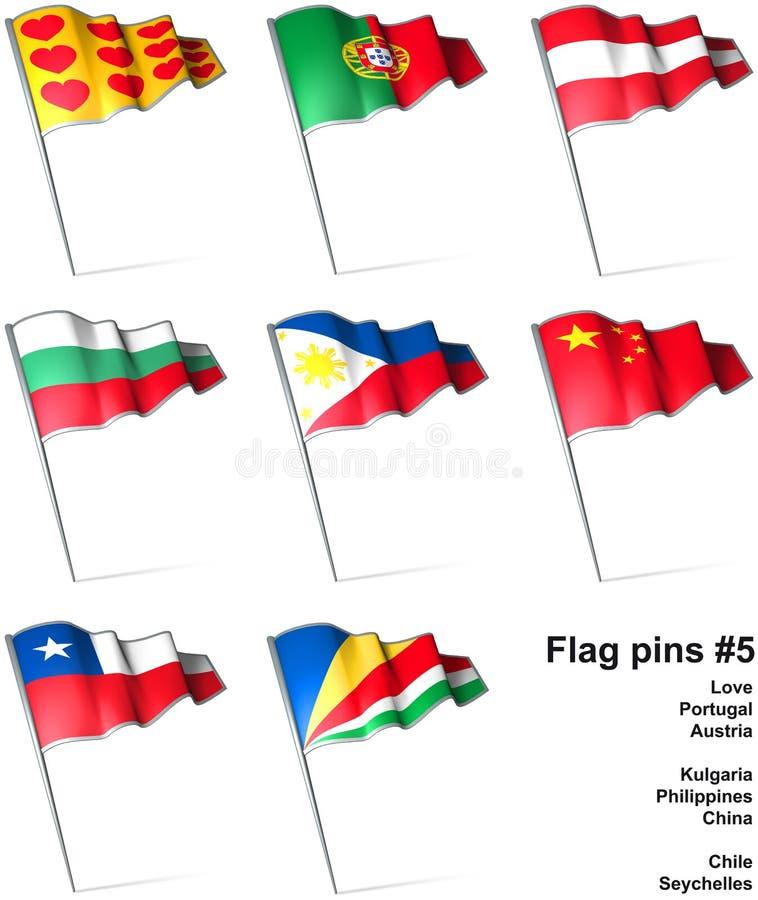 5 flaggastift royaltyfri illustrationer