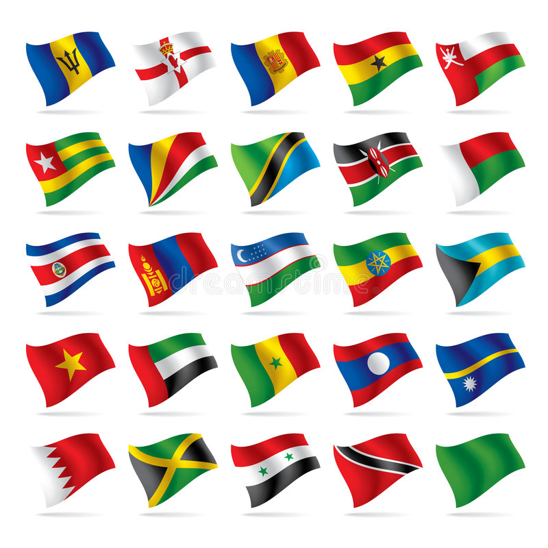5 flagi zestaw świat