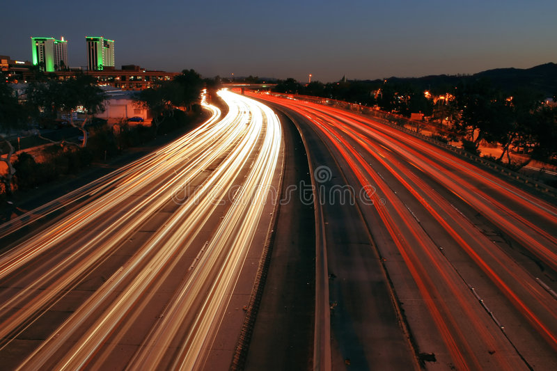 5 Freeway. Dusk over the 5 freeway during rush hour in Los Angeles royalty free stock photos