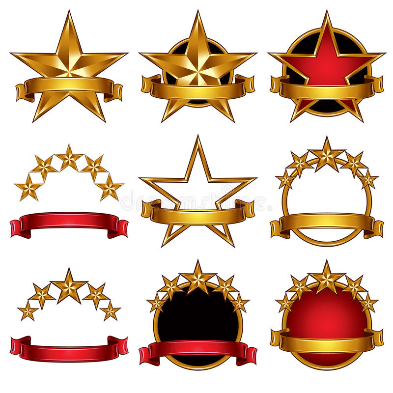 5 geplaatste sterren klassieke emblemen. vector illustratie