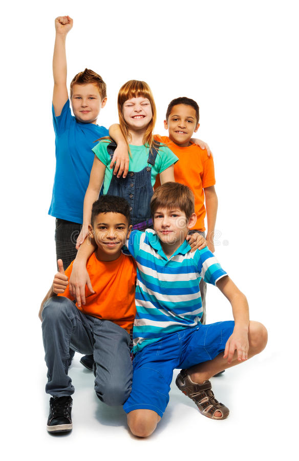 5 happy kids stock photo
