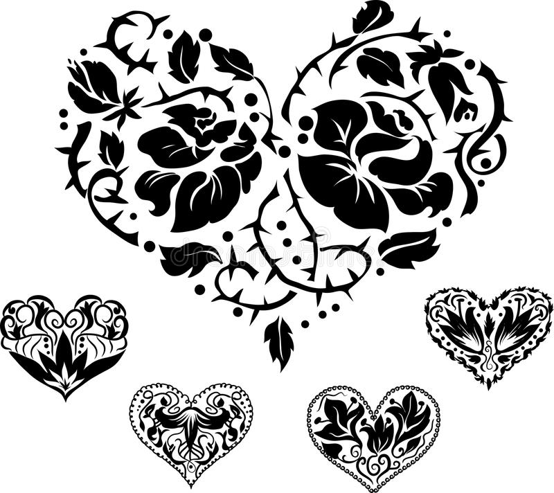 Free 5 Heart Silhouettes Royalty Free Stock Photography - 22274137