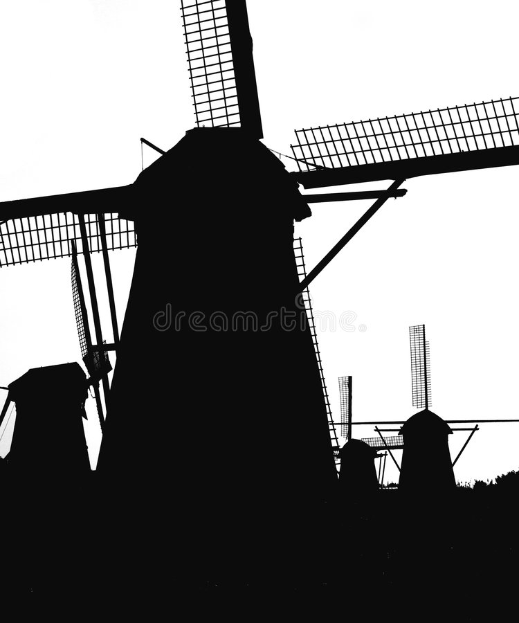 5 holländska kinderdijkwindmills fotografering för bildbyråer