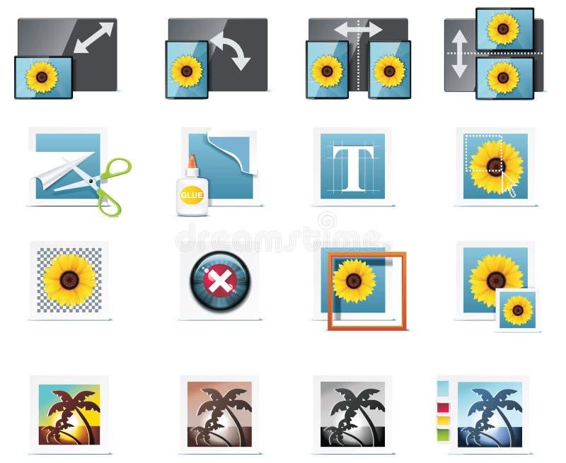 5 ikon część fotografii wektor ilustracji
