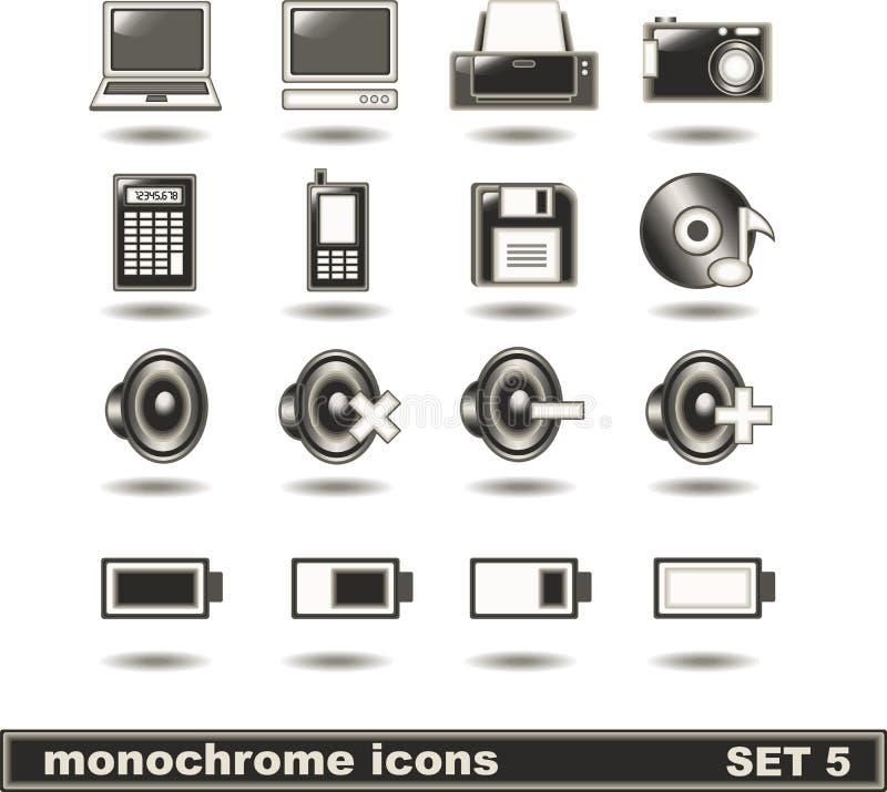 5 ikon monochromu set fotografia royalty free