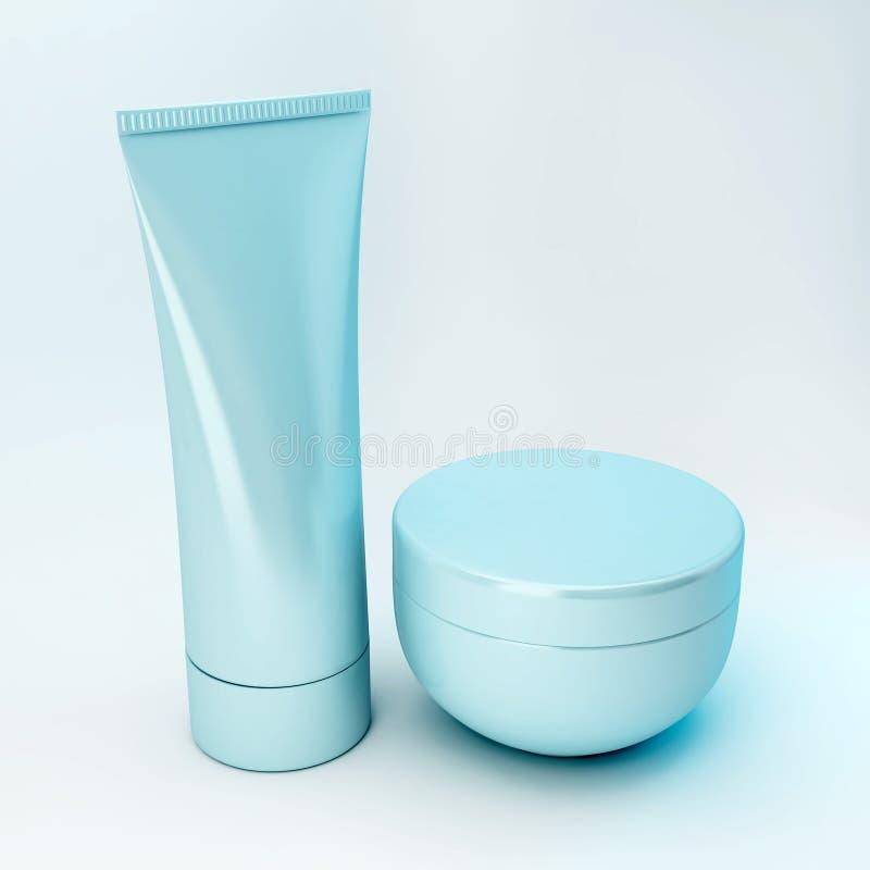 5 kosmetiska produkter royaltyfri illustrationer