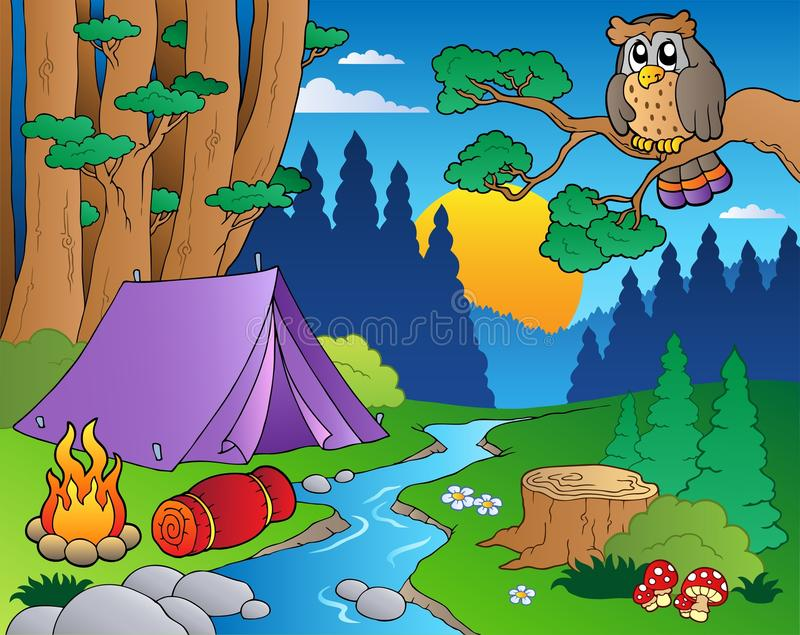 5 kreskówek lasu krajobraz ilustracja wektor