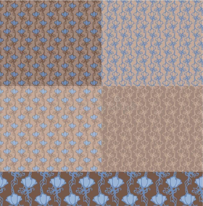 5 kwiecistych deseniowych bezszwowi ilustracji