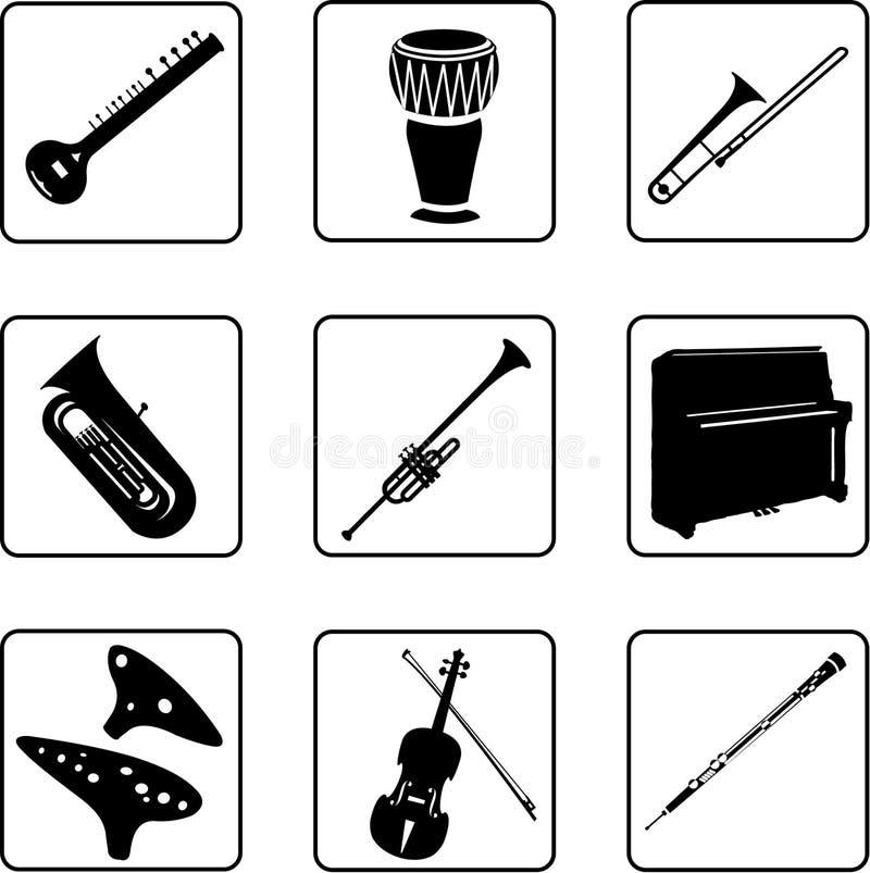 5 musikaliska instrument vektor illustrationer